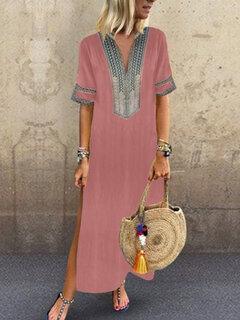 Damen Ethnic Print Patchwork Splitted Kurzarm Kleid