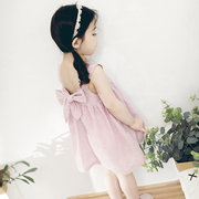 Strap Cute Baby Girls Sleeveless Summer Dress Bowknot At back For 0-24M