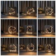 LED 3D Night Light Animal Wood Grain Lámpara USB Charged Table Energy Saving Lámpara Regalo
