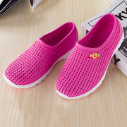 Candy Color Portable Slip On Hollow Out Flat Sandals