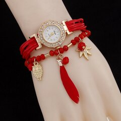 Multilayer Feather Owl Charm Beaded Bracelet Leather Watches for Women