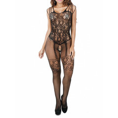 Sexy Open Crotch Hollow Out Transparent Mesh Floral Jacquard Lace Bodystocking For Women