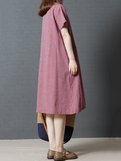 Casual Stripe Loose Short Sleeve O-neck Dress For Women