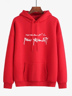 Print Letters Front Pocket Oversized  Hooded Sweatshirt
