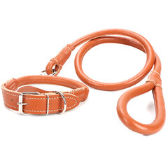 3 Colors Leather Dog Lead Leash Pet Lead Traction Rope For Large Dog