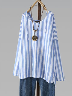Vintage Striped Hooded Long Sleeve Plus Size Blouse
