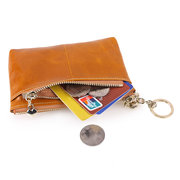 Waxy Genuine Leather Wallet Coins Bags Portable Purse