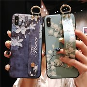 Women Vintage Flower Style Phone Case With Wrist Strap Bracket Back Cover Anti-fall For Phone