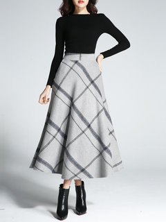 9fd730655f30 Stylish Elegant Women Plaid High Waist A-line Skirts - NewChic