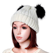 Womens Knit Pom Pom Bucket Beanie Cap Soft Comfortable Fashionable Winter Warm Outdoor Snow Hats