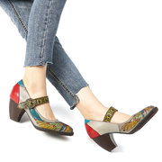 SOCOFY Printing Hollow Out Pattern Mid Heel Buckle Ankle Leather Pumps