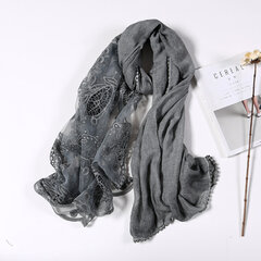 190CM Women Retro Lace Hollow Scarf Shawl Casual Cotton Lightweight Soft Long Scarves