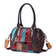 Women Genuine Leather Patent Handbags Bohemian Patchwork Crossbody Bags