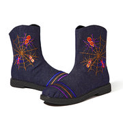 Stripe Spider Ankle Zipper Embroidery Flat Vintage Boots