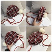 Wool Plaid Round Bag Crossbody Bag For Women