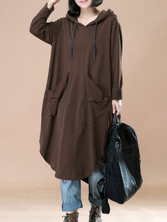 Casual Irregular Pure Color Hooded Loose Pockets Long Sleeve Women Dresses