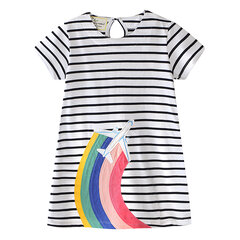 Airplane Pattern Girls Casual Cotton Dresses For 1Y-6Y