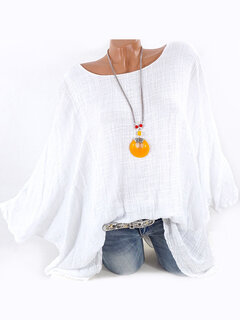 Vintage Batwing Sleeve Simple Shirts for Women