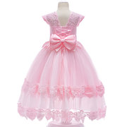 Lace Patchwork Girls Kids Pageant Party Wedding Sweet Princess Dress For 4Y-15Y