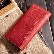 Brenice Genuine Leather Clutch Bag Vintage Phone Casual Purse Female Long Card Wallet