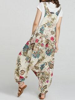 Casual Floral Print Drop-crotch Pockets Plus Size Jumpsuit