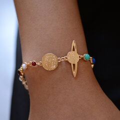 Ethnic Geometric Solar System Stars Chain Bracelets Cosmic Elements Colored Rhinestone Bracelets