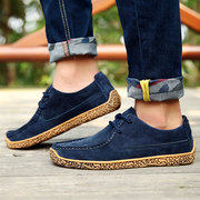 Suede Classic Lace Up Soft Sole Casual Hiking Shoes For Men