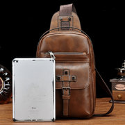 Men Vintage Genuine Leather Chest Bag Leisure Shoulder Bag