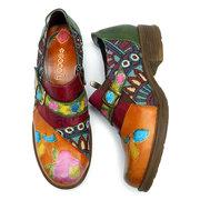 SOCOFY Bohemian Jacquard Splicing Genuine Leather Zipper Low Heel Shoes