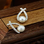 Fashion Ear Stud Earrings Hollow Geometric Imitation Pearls Rhinestone Easrings Jewelry for Women