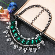 JASSY Luxury Classic Emerald Crystal Necklace Collar Choker Princess Cut Women Statement Necklace