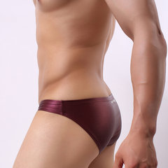 Mens Sexy Faux Leather Soft Shinning Underwear Solid Color Brief With Pouch