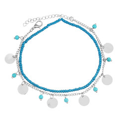 Bohemian Womens Anklet Summer Beach Multilayer Blue Bead Coin Pendant Ankle Bracelets Ring