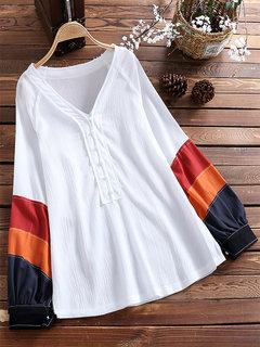 Retro Loose V-neck Long Sleeve Patchwork Pullover Shirt