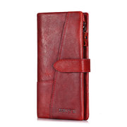Women 19 Card Slot Genuine Leather Long Wallet Vintage Phone Purse Solid Coin Purse