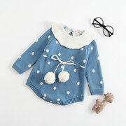 Cute Dot Knitted Girls Long Sleeve Round Neck Romper For 0-36M