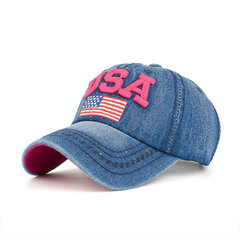 Unisex Washed Cowboy Hat Patriotic Trucker Baseball Hat USA Flag Red White