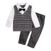2Pcs Gentleman Boys Long Sleeve Formal Clothing Set For 1Y-4Y