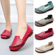 Leather Handmade Stitching Hollow Out Slip On Casual Flat Loafers