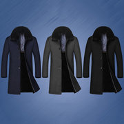 Thick Warm Detachable Furry Collar Inside Fleece Solid Color Mid Long Warm Coat Jacket for Men