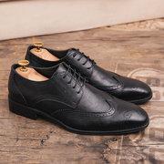 Zapatos formales de la boda del negocio de los hombres de gran tamaño Brogue tallado Oxfords
