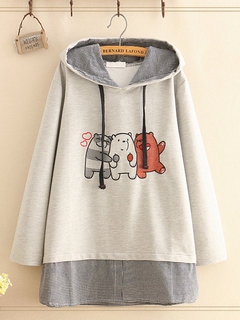 Bear Embroidered Hooded Fake Two Pieces Sweashirt