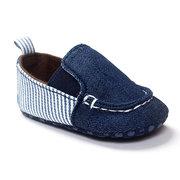 Baby Canvas Denim Slip On Cowboy Flache Schuhe für 0-24M