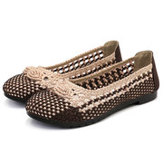 Women Hollow Out Knitted Soft Sole Cloth Casual Flat Shoes