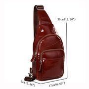 Genuine Leather Chest Bag With USB Charger Casual Vintage Single-shoulder Crossbody Bag For Men