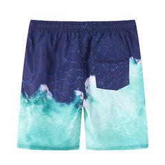 Drawstring 3D Print Quick Dry Mesh Liner Beach Hawaiian Board Shorts for Men