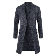 Mid-Long Solid Color Comfortable Knitted Cardigan for Men