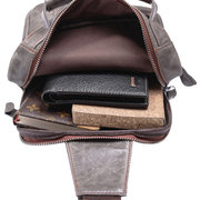 Genuine Leather Chest Bag Casual Vintage Large Capacity Crossbody Bag For Men
