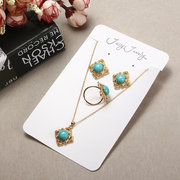 JASSY® Luxury 18K Gold Necklace Turquoise Earrings Diamonds Ring Vintage Set Gift for Women