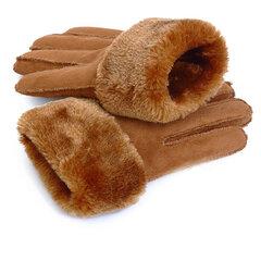 Men Women Suede Full Finger Gloves Outdoor Windproof Warm Plush Inside Wrist Mittens